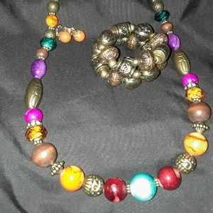 Vintage,Wood and acrylic beaded necklace, bracelet